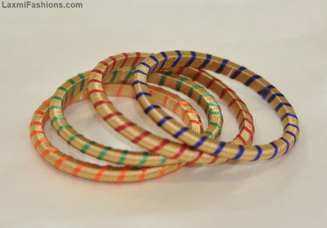 SALE 25% Discount Golden Color Silk Thread Bangles Indian