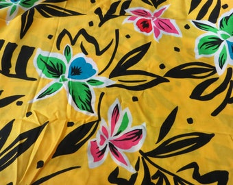 "Bright Yellow Tropical Fabric 100% Polynosic Muslin from Japan Yellow Black Bright Green and Blue 1 1/2 Yards x 44"" wide Flowing Rayon"