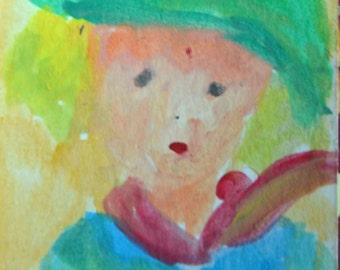 Original ACEO Watercolor Painting- Boy