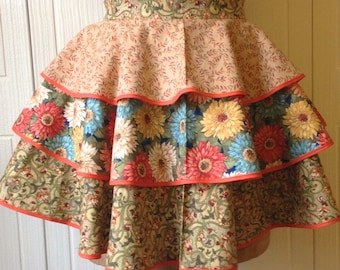 Women's Vintage Style Half Apron - Heavy Sugar Aprons - little Miss GreenThumb  - Multi Color