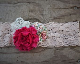 Fancy flowers and lace headband