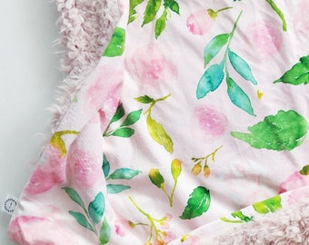 Blush Watercolor Floral Baby Blanket, Floral Baby Blanket, Minky Baby Blanket, Faux Fur Baby Blanket, Girl Baby Blanket, Watercolor Blanket