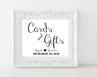 Cards And Gifts Printable Wedding Sign | Gift Table Sign | ReceptionSign | Romantic Wedding Decor | PDF Digital Download |  CWS307_1122