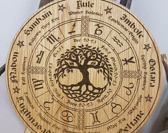 Wheel of the Year in Oak, Pagan, Wiccan, tree of life