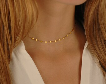 Tiny Double Sequin Necklace, Gold Link Choker, Tattoo necklace, 14k gold filled, Layering Jewelry, Trendy Choker Necklace, Dainty choker