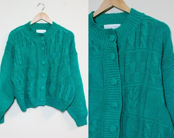 Green Knit Cardigan / Vintage Knit Button Up Sweater