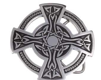 Celtic cross belt buckle  40mm -Hand Made and Design in UK