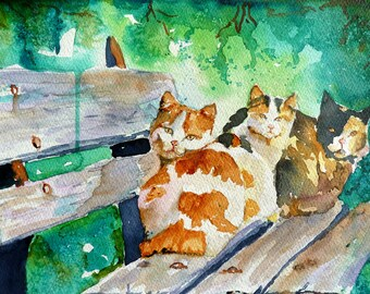 3 on a Bench Watercolor Art Print by Maure Bausch