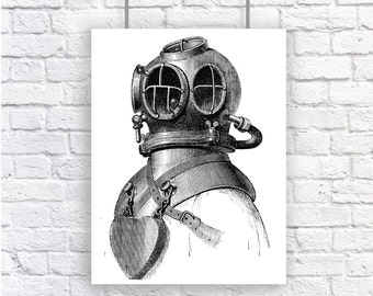 Large Deep Sea Diver Nautical Vintage Style Print Black and White Grey Beach House Decor