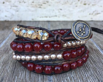 Leather Wrap Bracelet Burgundy Glam