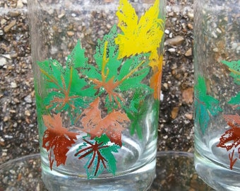 Salem Maple Leaf Juice Glasses Fall Leaf Vintage Juice Glasses Set of 7