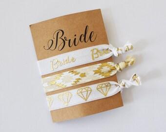 Bride Hair Ties - Set of 3// Bride Gift // Bride to be gift// Wedding Favors//Bridal Hair Ties//Wedding Hair Ties