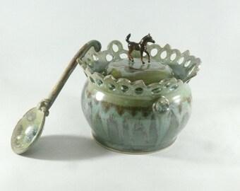 Stash Jar Trinket Box Honey Jar Horse Decor Honey Pot Salt Cellar Pottery Lidded Jar Bathroom Storage Sugar Bowl Tea Canister Anniversary