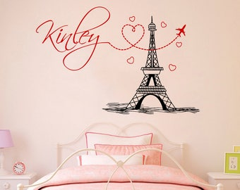 Girl Name Wall Decal Eiffel Tower Vinyl Stickers Mural Paris Silhouette  Personalized Baby Girl Name Decor