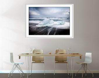Icebergs - Extra large wall Art - Iceland Photography - Beach Photography -  Oversized Print - Black  White -