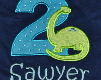 Birthday Boy Outfit - Monogrammed/Personalized 2nd Birthday Dinosaur Appliqued Navy T-shirt, Size 2T- 4T