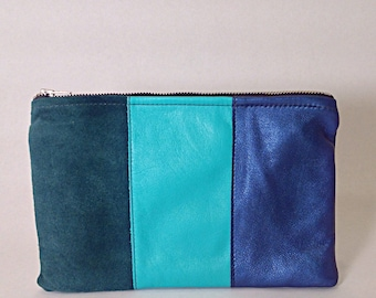 Color-block teal leather pouch