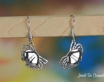 Sterling Silver Crabs Pierced Earrings Fishhook Earwires 3D Solid .925