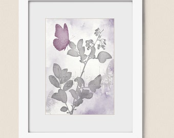 5 x 7 Print, Pink and Gray Girls Room Art, Butterfly Wall Art Print, Gray and Pink Room Decor, Butterfly Art Print (245)