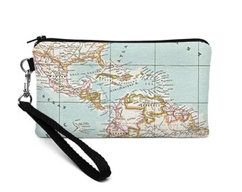 Travel iPhone 8 Plus Case, Women's Clutch Wallet, Phone Wristlet Purse, Fabric Phone Wristlet, Vegan Travel Wristlet - color world map
