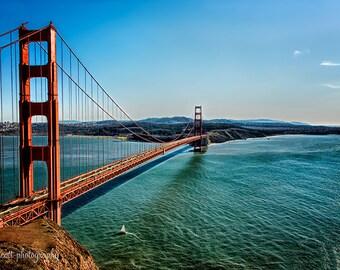 Golden Gate Bridge Panorama | San Francisco Bay | Sailboat | Nautical Art | San Francisco Landscape Photography | Large Wall Art  Canvas Art