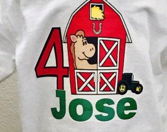 Farm shirt, Farm birthday shirt, Green tractor shirt, Farm party shirt