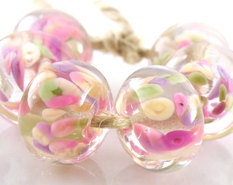 Cherry Blossoms Encased SRA Lampwork Handmade Artisan Glass Donut/Round Beads Made to Order Set of 6 10x15mm