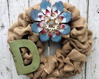 Door Wreath, Burlap Wreath, Summer Wreath, Wedding Wreath, HouseWarming Wreath