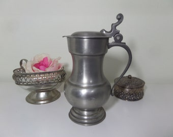 Vintage Italian Pewter Pitcher with lid ~Downton Abbey, Shabby chic, Romantic Cottage