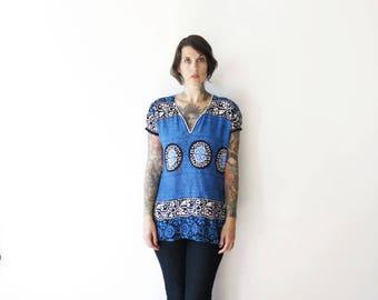 80s batik vintage elastic puff sleeved lightweight cotton hippie blouse top// small medium