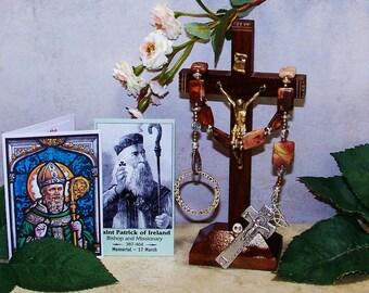 Irish Penal Rosary, Pocket Rosary, Picasso Jasper, One Decade Rosary
