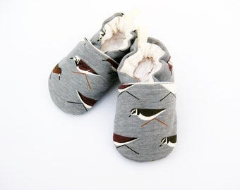 Organic Knits Sand Pipers in Grey / All Fabric Vegan Soft Sole Baby Shoes / Made to Order / Babies Booties Shower Gift