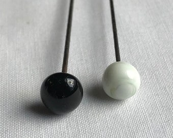 Two Vintage Black And White Hat Pins