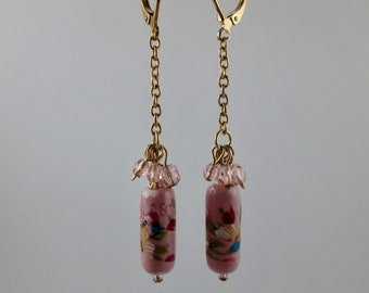 "Vintage Bead ""Sweet Pea"" Earrings"
