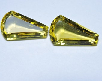 2 Pieces Beautiful Lemon Quartz Faceted Fancy Shaped Loose Gemstone Size 26X15 MM