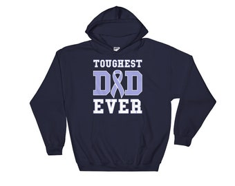 Toughest Dad Ever Hoodie - Esophageal Cancer Survivor - Esophageal Support Awareness Ribbon - Fathers Day Gift for Dad Hooded Sweatshirt