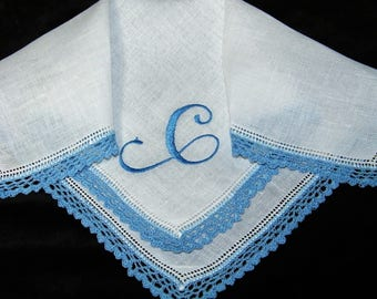"Vintage Blue on White Monogrammed Monogram ""C"" Ladies Crochet Lace Trim Brides Wedding Handkerchief, Hankie, Hanky - 1032"