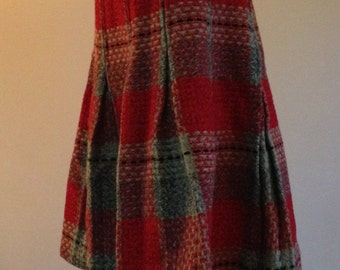 Wool Plaid Pleated Skirt from the Sixties