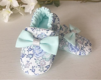 Slippers liberty girl fabric welcomed Denim with a silver bow and Minth