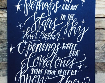 Sympathy gift, in memory of, memorial print, loss of a loved one, stars shining down from heaven, gone but not forgotten