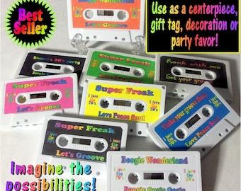 Cassette centerpiece, cassette gift tag, cassette party favor, cassette tape decor, 70's party, 80's party, cassette party, cassette party