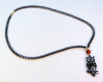 "vintage hematite bead owl pendant necklace 17-1/2"""