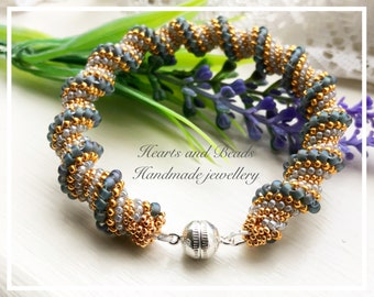 Sterling Silver and gold beaded seed bead twisted bracelet, magnetic clasp, grey beaded bracelet, Cellini spiral seed bead bracelet