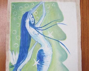 Blue Hair Mermaid  Original Painting on canvas