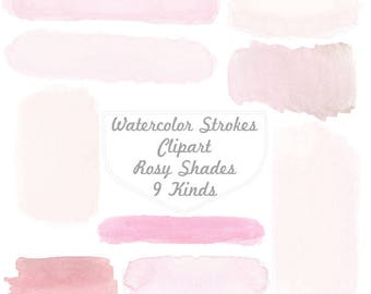 Pink Handpainted Watercolor Banners, Labels, Clipart, pink watercolor strokes, digital graphics, pink banners, pastel labels, cute clipart