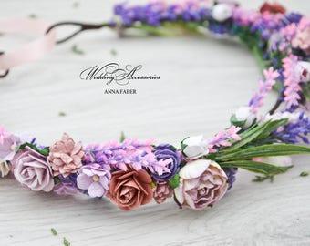 Lavender floral crown, bridal flower crown, rustic flower crown, lavender bridal crown, woodland wedding, lavender wedding, lavender crown.