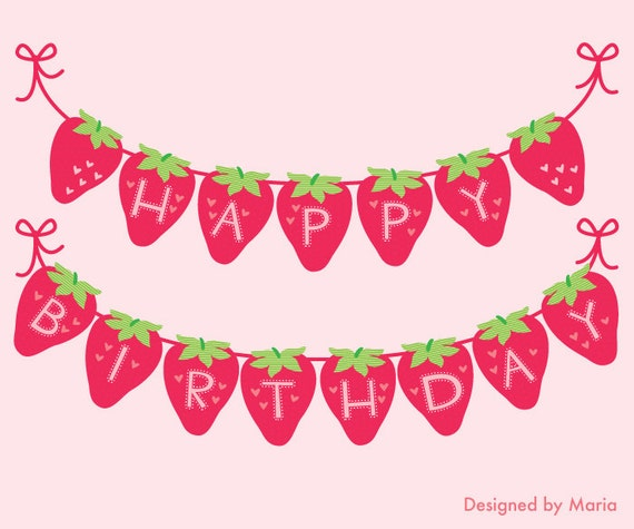 Strawberry Happy Birthday Banner Printable Decoration