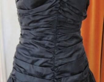 Vintage 80's Strapless Black Taffeta Dress