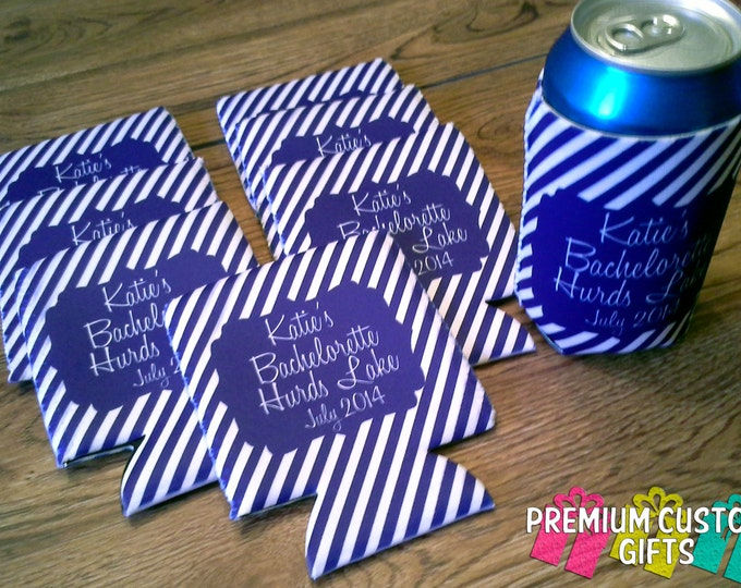 8 Custom Bachelorette Can Coolers - Custom Can Coolers - Personalized Monogrammed Can Coolies - Vacation Can Coolers - No Minimum