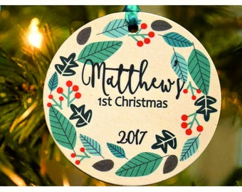 Baby's First Christmas ornament ,Personalized christmas tree ornament, tree ornament , Baby's christmas tree Ornament, christmas gift (Ch2)